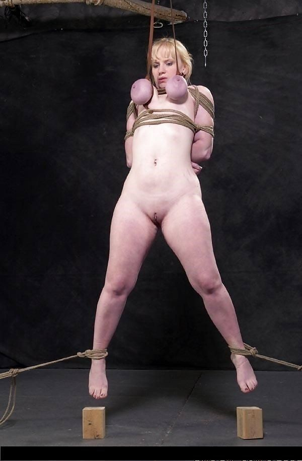 Suspended by tits cowgirl enjoy erotic