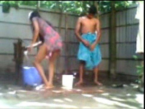 Nude bath indian couples
