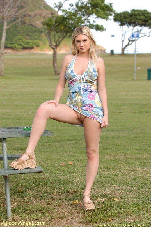 Blonde anal upskirt outdoor