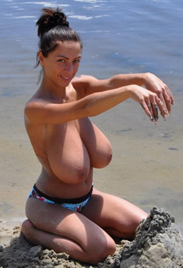 The on beach boobs big Huge Tits