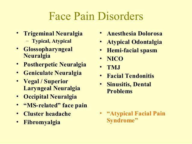 Luna reccomend Facial pain trigeminal neuralgia
